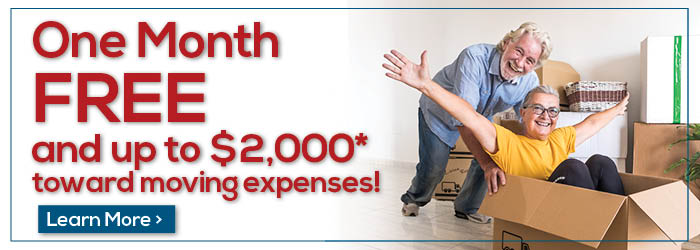 One Month Free and up to $2000 toward moving expenses!