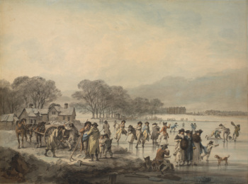 Julius Caesar Ibbotson, Skating on the Serpentine, exhibited at the Royal Academy in 1796, watercolour, pen and grey ink (Eton College Collections)