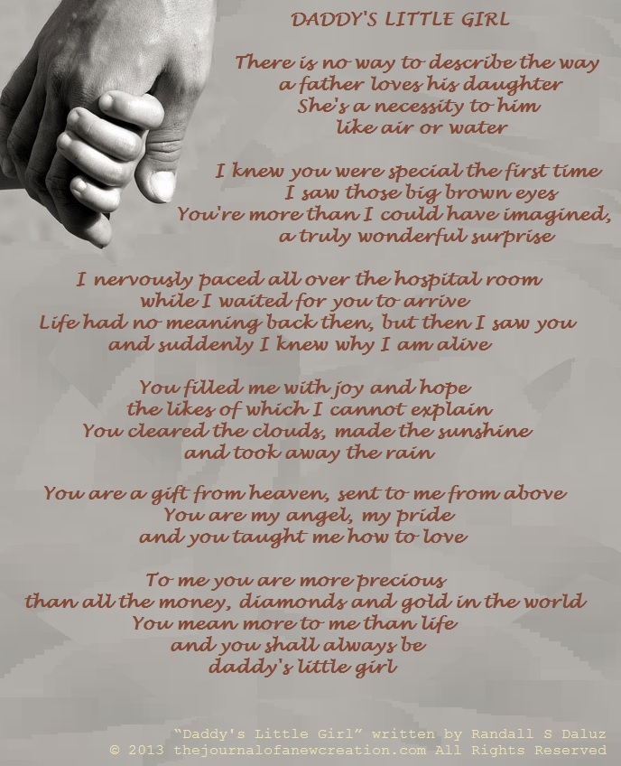Daddy's Little Girl written by Randall S Daluz