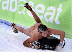 nude man sledding