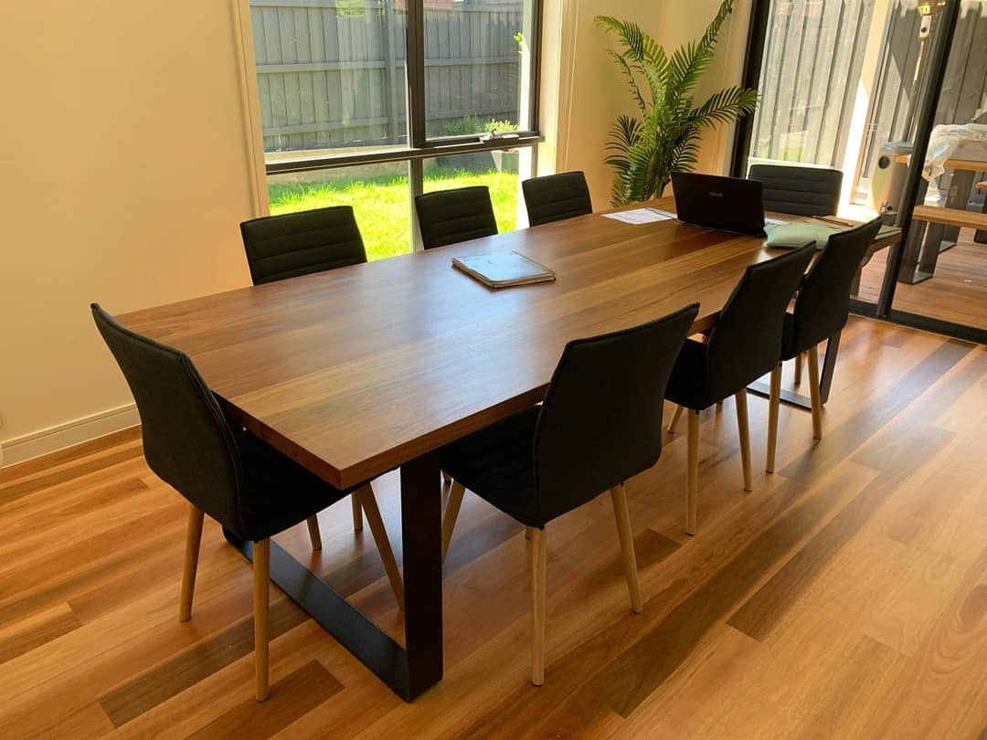 dining room table in spotted gum
