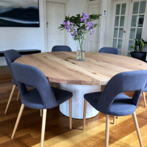 Raw Timber Dining table with chairs