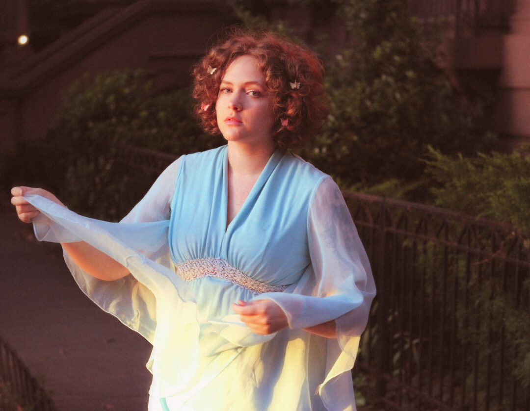 outfit vintage blue dress empire waist angel sleeves