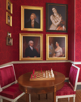 Jefferson's portrait hangs above James and Dolley Madison's in the newly restored drawing room, with its Lelarge chairs.