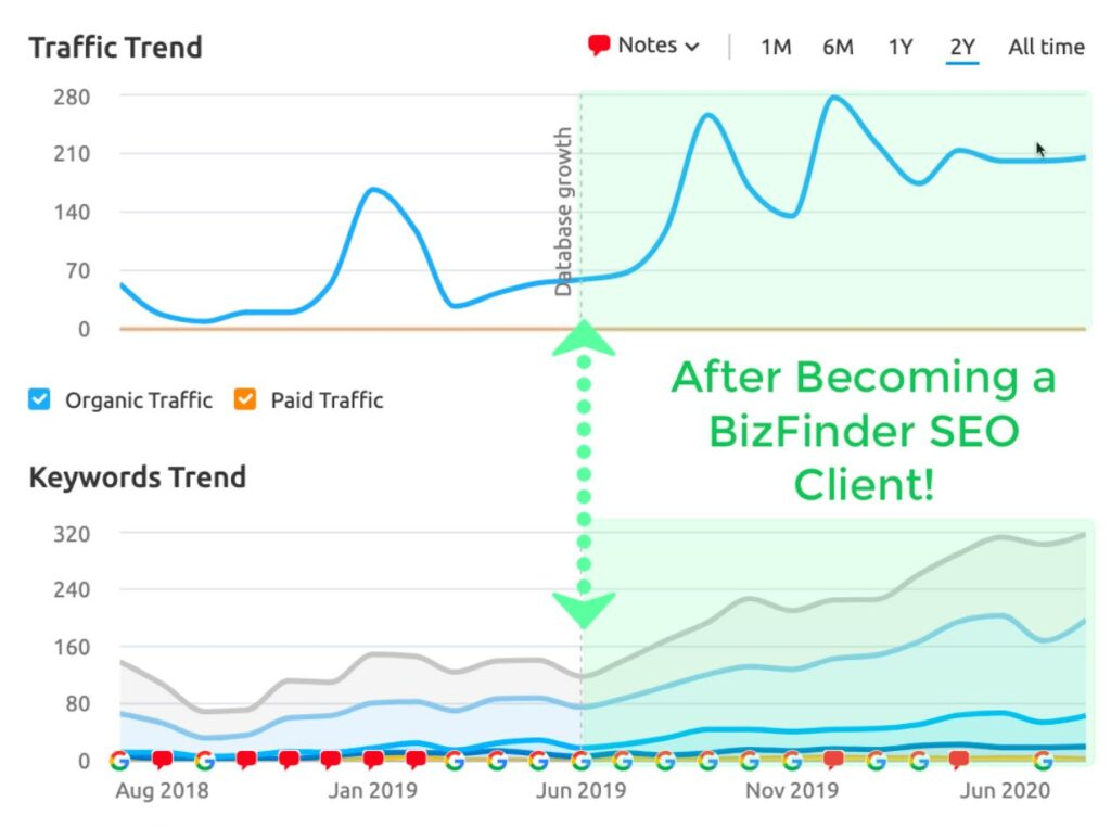 how to get more website traffic with SEO BizFinder