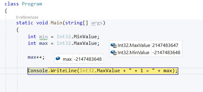 MaxValue + 1 = MinValue!