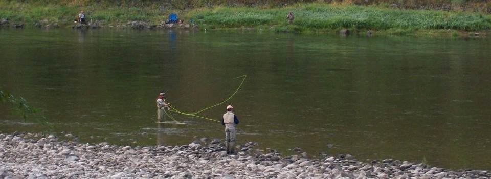 Flyfishing on the Salmon River at Swiftwater RV in White Bird Idaho.