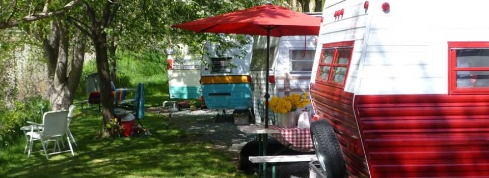 Lineup of Vintage Trailers at Swiftwater RV Park in Idaho