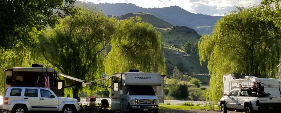 Camping along the banks of the Salmon River at Swiftwater RV near Hells Canyon and White Bird, Idaho