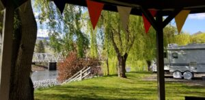 View of Salmon River and Bridge from inside the Gazebo