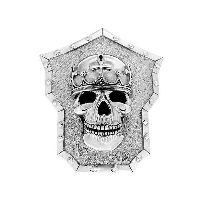 Golgotha Buckle Skull King Sterling Rose Gold Yellow Gold
