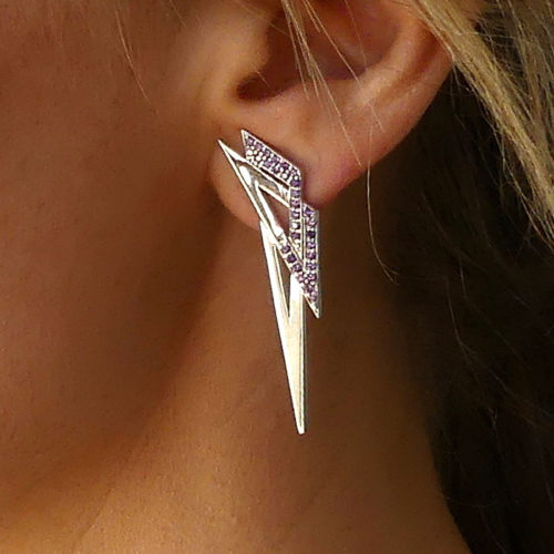 MOD Earring Sterling Silver Rose Gold Yellow Gold CZ