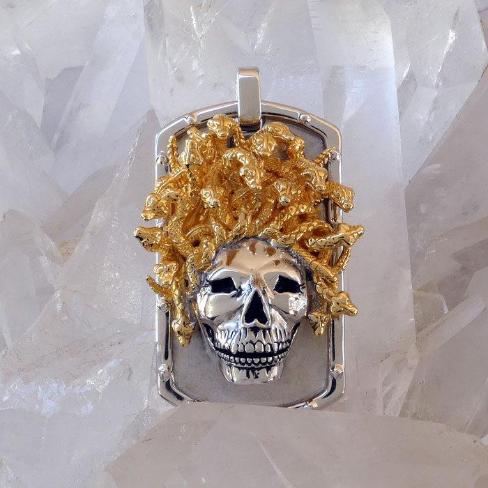 Golgotha Tag Skull Medusa Sterling Rose Gold Yellow Gold