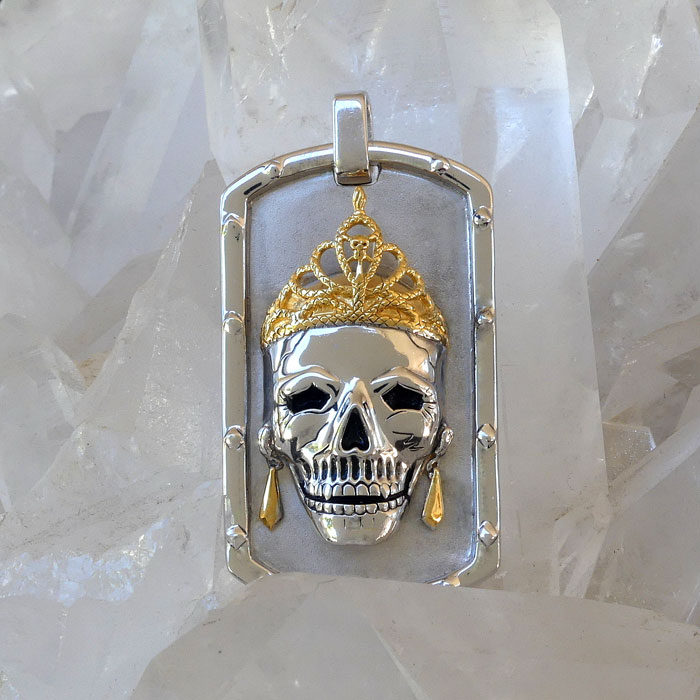 Golgotha Tag Skull Queen Sterling Rose Gold Yellow Gold
