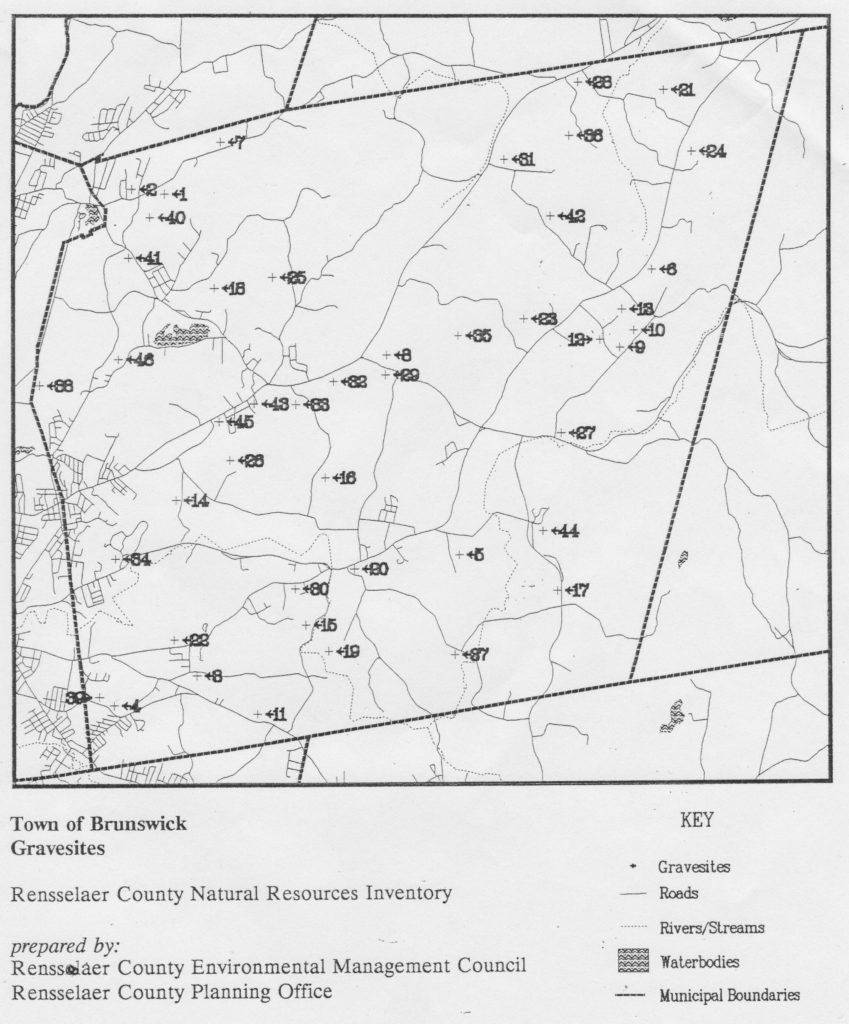 """Rensselaer County Environmental Management Council and Rensselaer County Planning Office. """"Town of Brunswick Gravesites."""" Rensselaer County Natural Resources Inventory."""