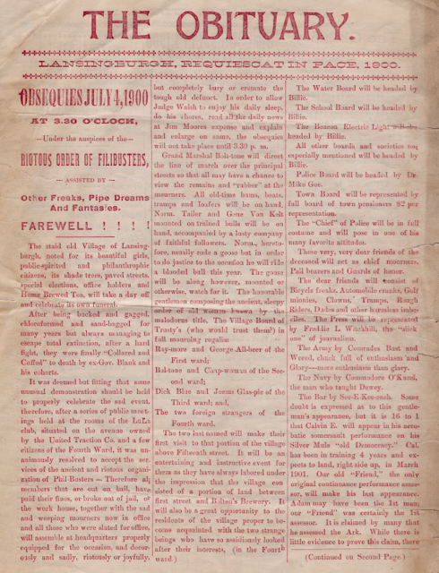 """Image of front cover of """"The Obituary,"""" a program for Lansingburgh's final Fourth of July parade."""