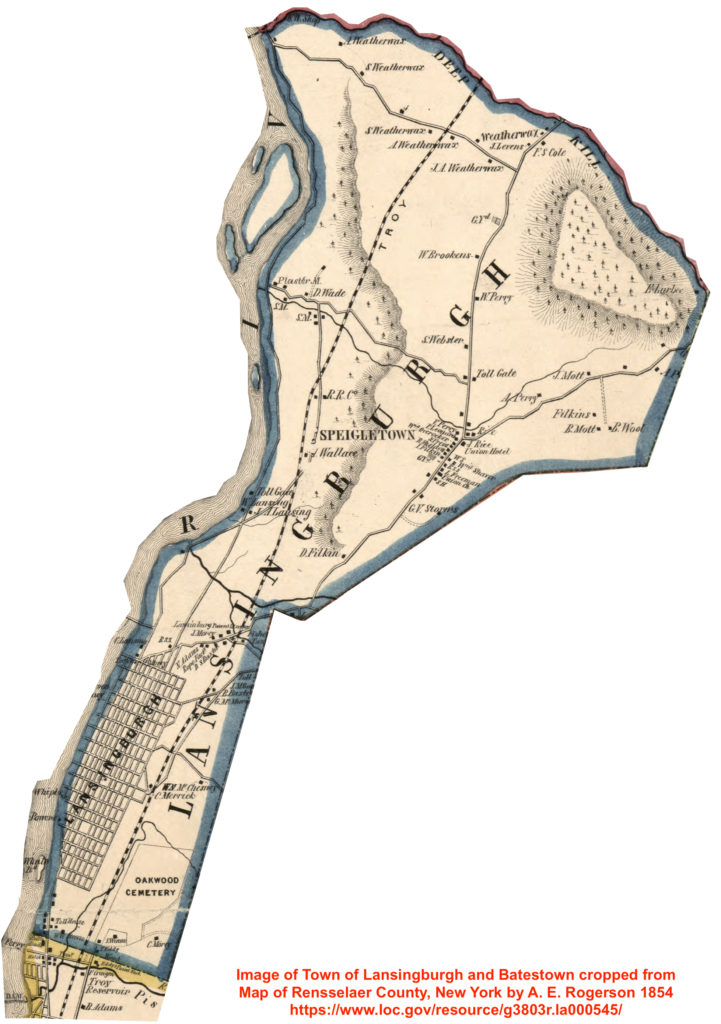 Image of Town of Lansingburgh and Batestown cropped from 1854 Map of Rensselaer County