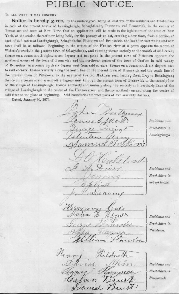 1879 signed notice of application to NYS Legislature to form new town of North Lansingburgh