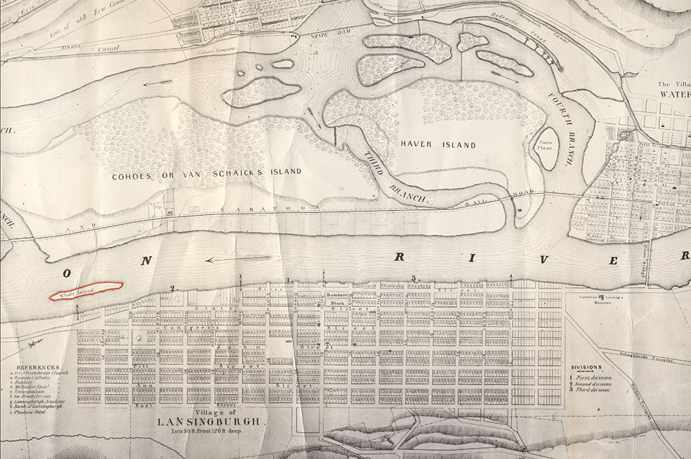 """""""Map of the Confluence of the Mohawk and Hudson Rivers, with the villages and islands,"""" 1843. (red added to Whale Island to image from Saratoga Living)"""