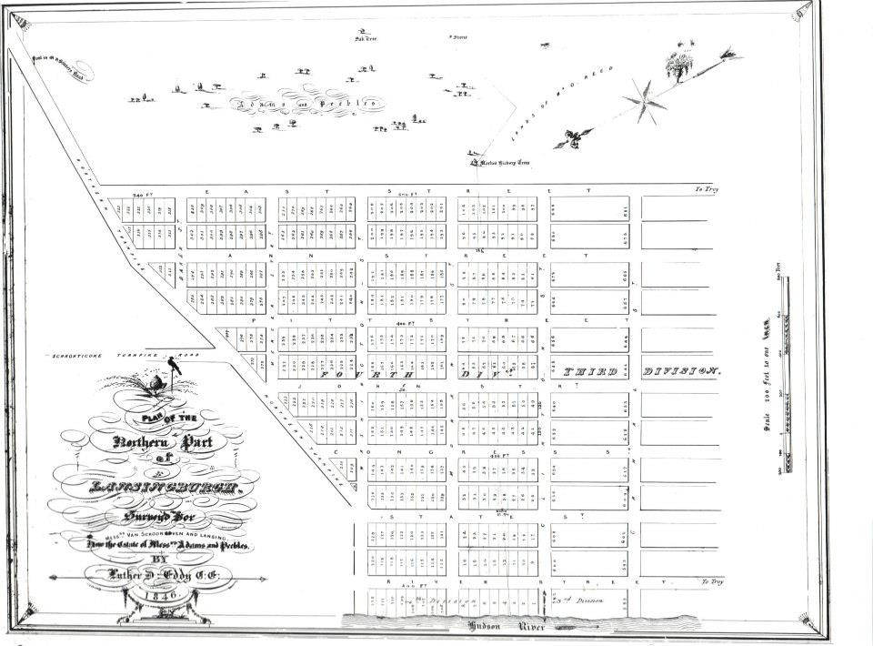 1846 map of Adamsville the fourth and northernmost ward of the Village of Lansingburgh