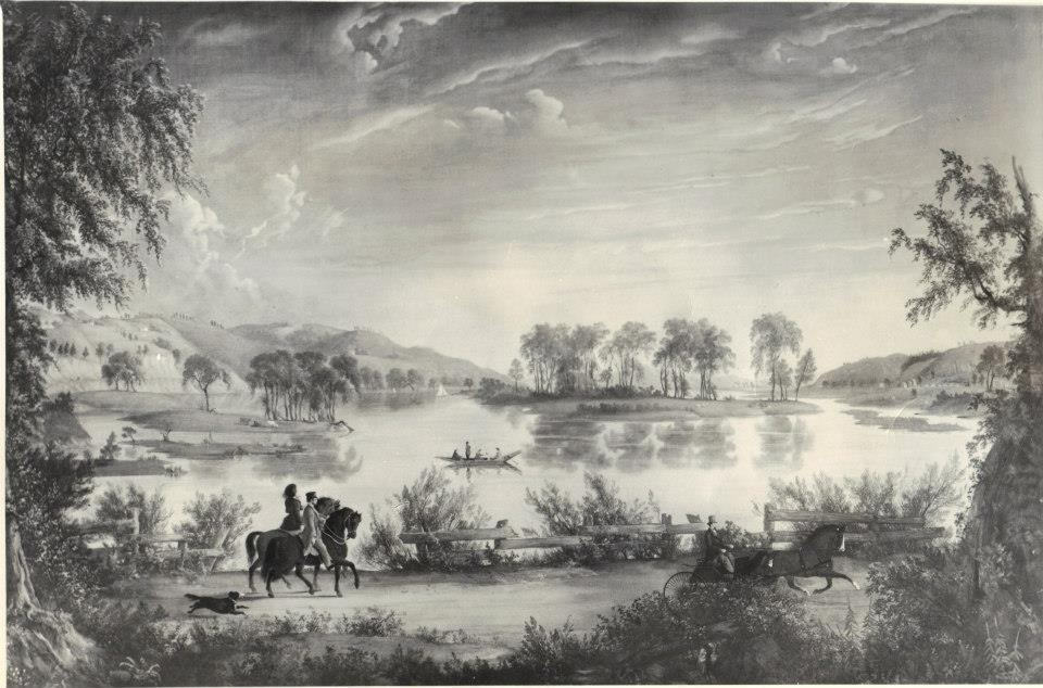 copy of painting, scenes near Lansingburgh, by William Hart 1848 shows Campbell's Island from River Rd.