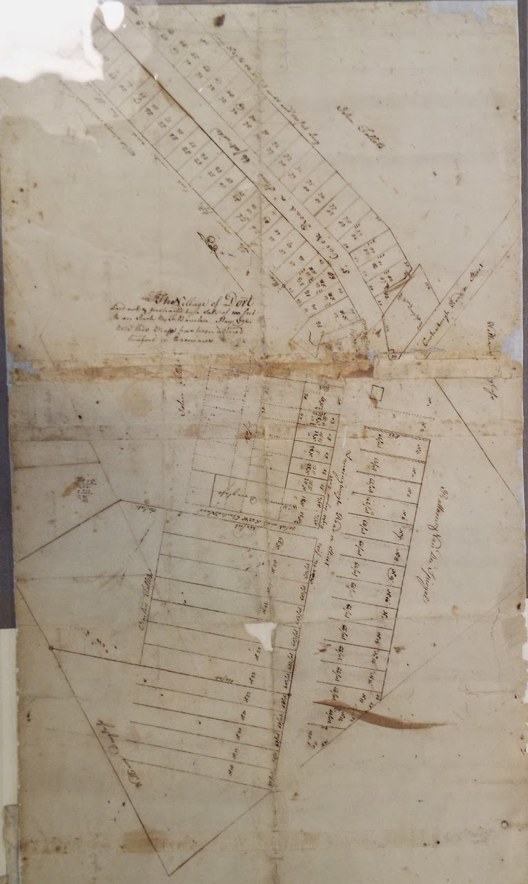 """1796 map of Speigletown by Flores Bancker labeled """"Dort"""""""
