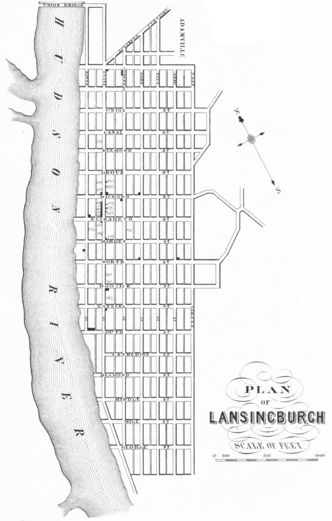 """""""Plan of [Village of] Lansingburgh"""" detail cropped and lightened from Rogerson, A. E, E. A Balch, and Robert Pearsall Smith. Map of Rensselaer County, New York: from actual surveys. [Troy N.Y.: E.A. Balch, publisher, 1854] Map. Retrieved from the Library of Congress, https://www.loc.gov/item/2013593230/>"""