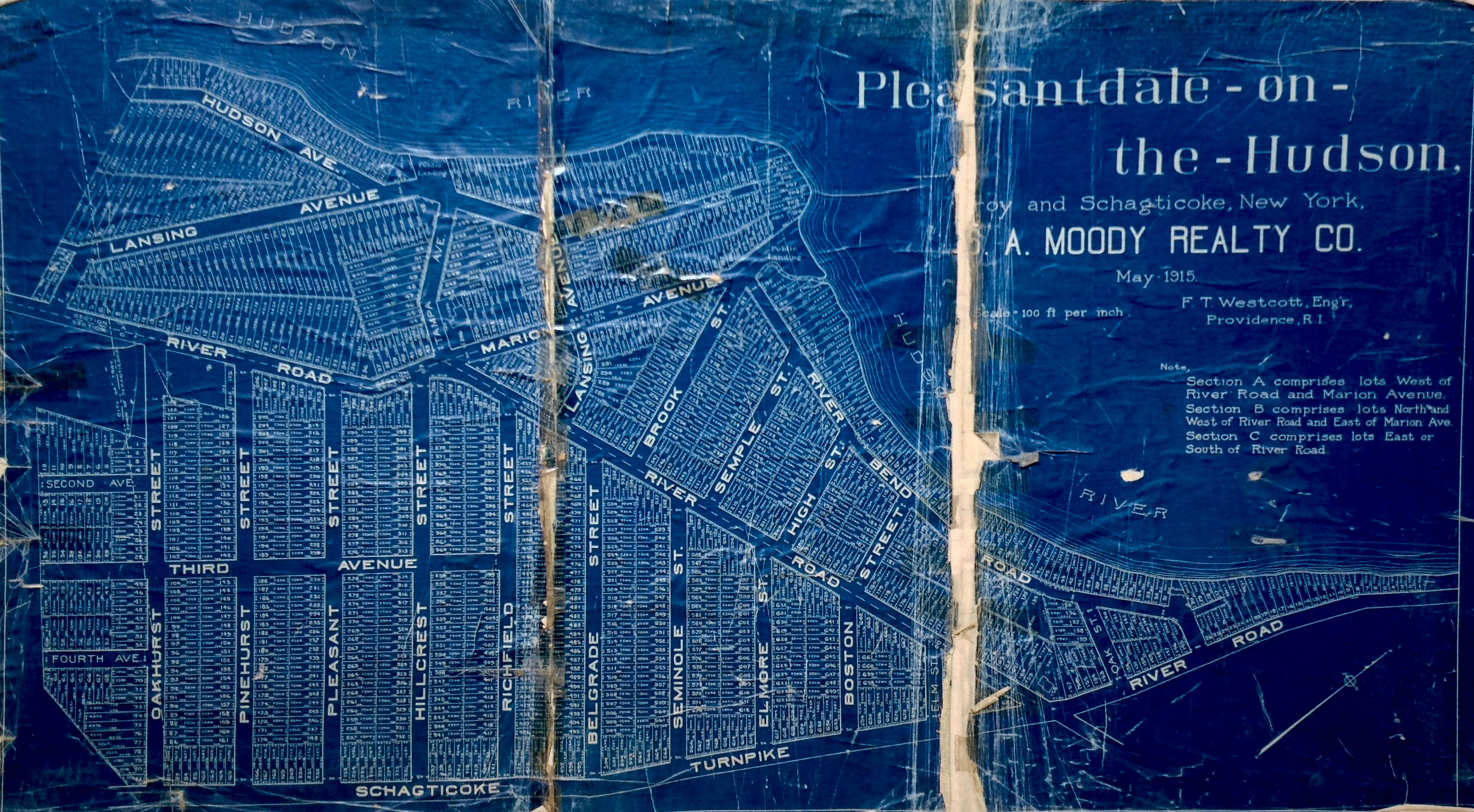 Pleasantdale-on-the-Hudson May 1915 blueprint by F. T. Westcott, Engineer, Providence, Rhode Island