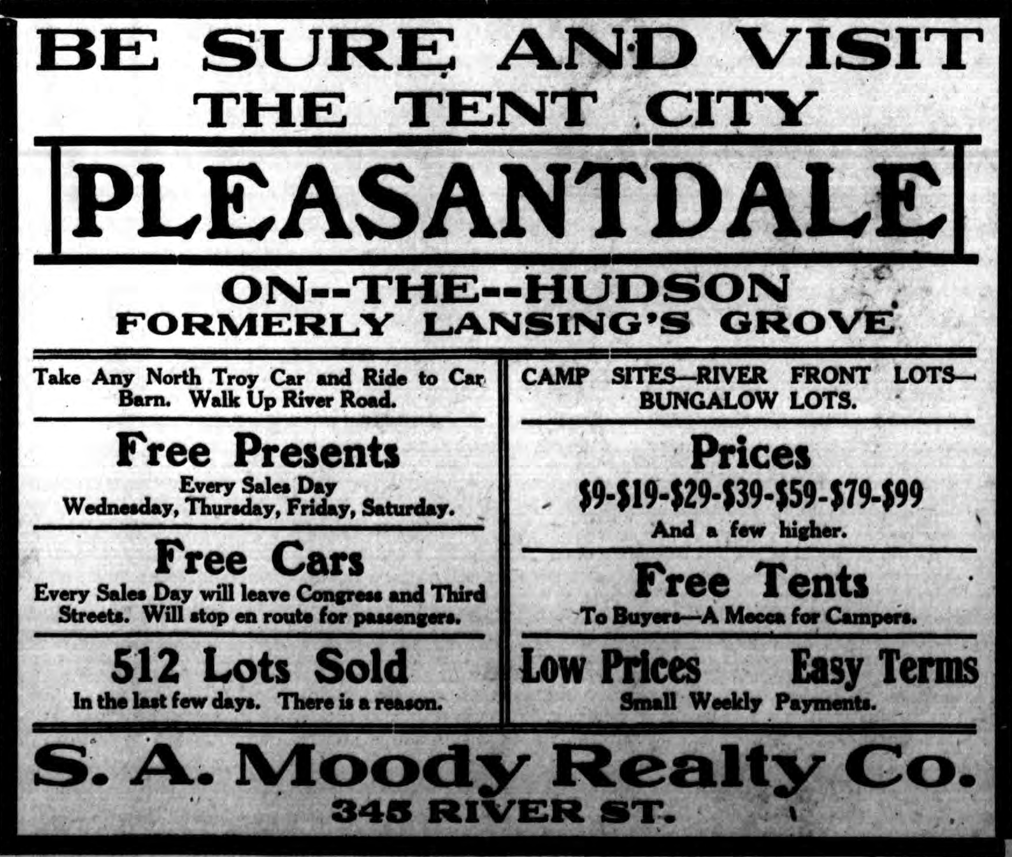 """Advertisement """"Be sure and visit the tent city Pleasantdale-on-the-Hudson Formerly Lansing's Grove"""