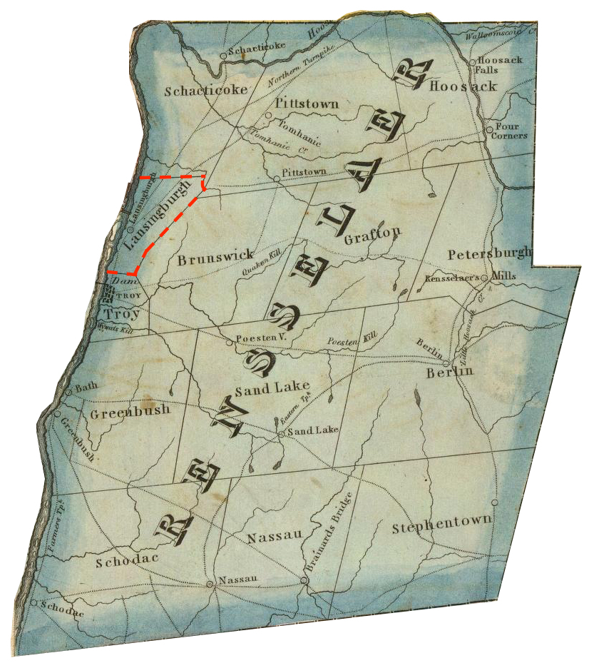 """Detail cropped from: Dey, J. Ogden and David H. Vance. """"Map of the Western Part of the State of New York."""" Albany, NY: John Ogden Dey, 1825. http://www.davidrumsey.com/luna/servlet/detail/RUMSEY~8~1~4236~340015:Map-of-the-Western-Part-of-the-Stat  The Town of Lansingburgh marked in red dotted lines; the map seems to have incorrectly made the northern boundary a horizontal line rather than the Deep Kill."""