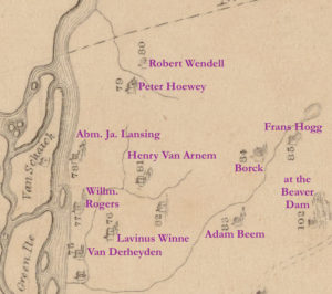 """Detail from """"A Map of the Manor Rensselaerwick"""" by John R. Bleecker, Surveyor 1767 showing Lansingburgh area from the Piscawenkill north to the Iserkill."""