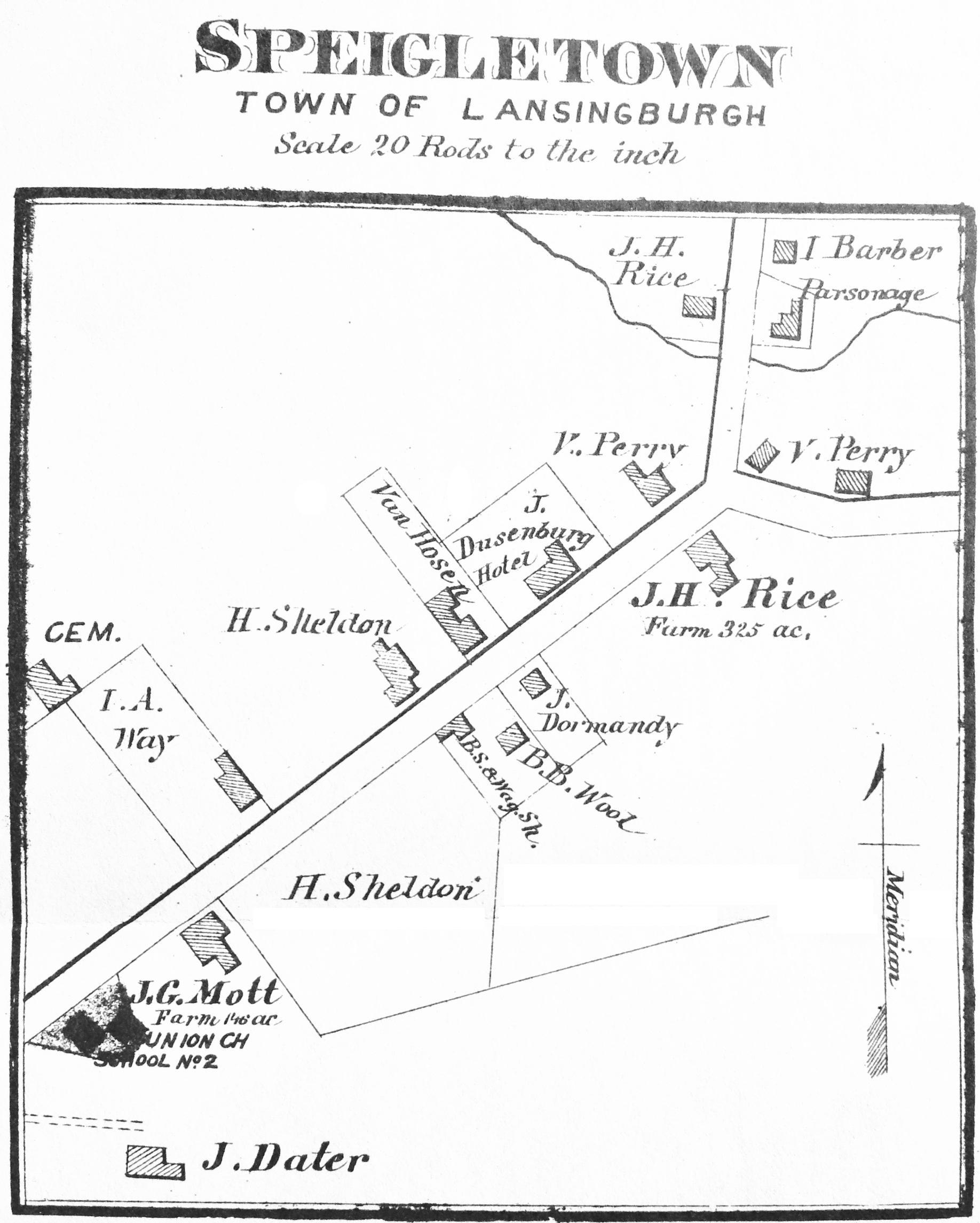 1876 Beers inset map of Speigletown