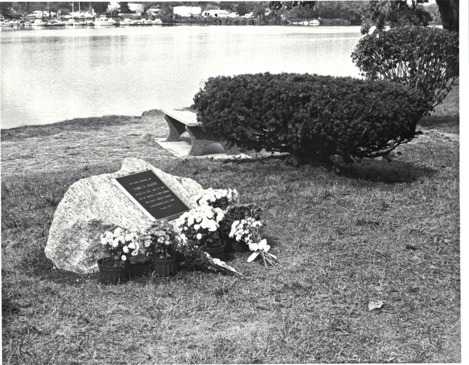 James T. Ellett memorial site with bench and plantings.