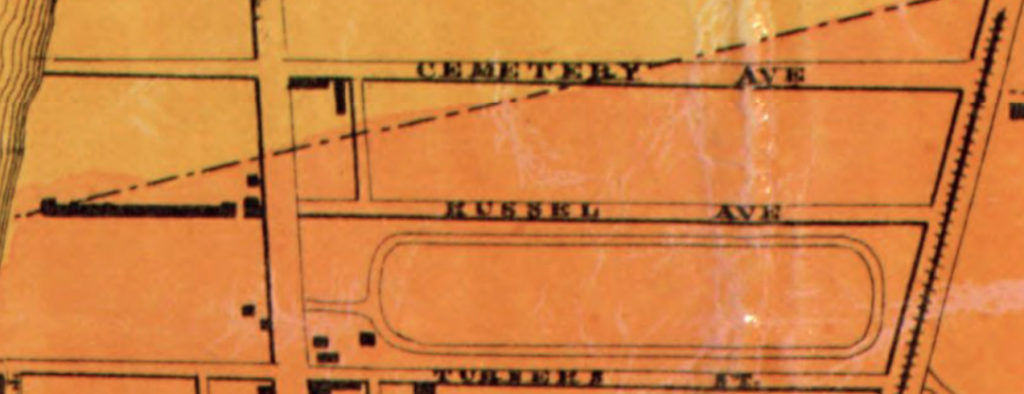 Detail showing Rensselaer County Agricultural Society Fair Grounds in Batestown from: Lake, D. J, and S. N Beers. Map of Rensselaer Co., New York. Philadelphia: Smith, Gallup & Co. Publishers, 1861. Map. Retrieved from the Library of Congress, .