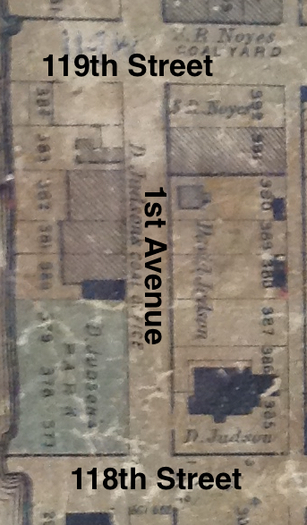 Annotated detail of 1876 Lansingburgh map showing Judson properties alongside 1st Avenue between 118th and 119th streets.