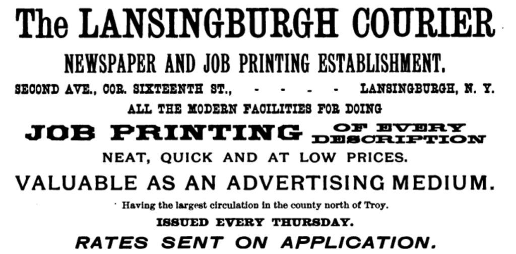 Lansingburgh Courier. advertisement. Troy Directory. 1902.