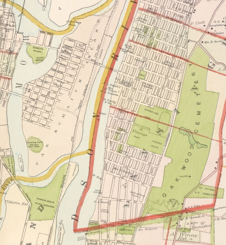 """Powers Grove at northern end of Green Island, picnic grove at southern half of Simmons Island, A. Winne property south of Oakwood Cemetery - detail from Lionel Pincus and Princess Firyal Map Division, The New York Public Library. """"Portion of Albany County. and City of Cohoes. ; Portion of Rensselaer County. And Cities of Lansingburgh & Troy."""" The New York Public Library Digital Collections. 1891. http://digitalcollections.nypl.org/items/5fd666af-a99f-a9e3-e040-e00a18060a9a"""