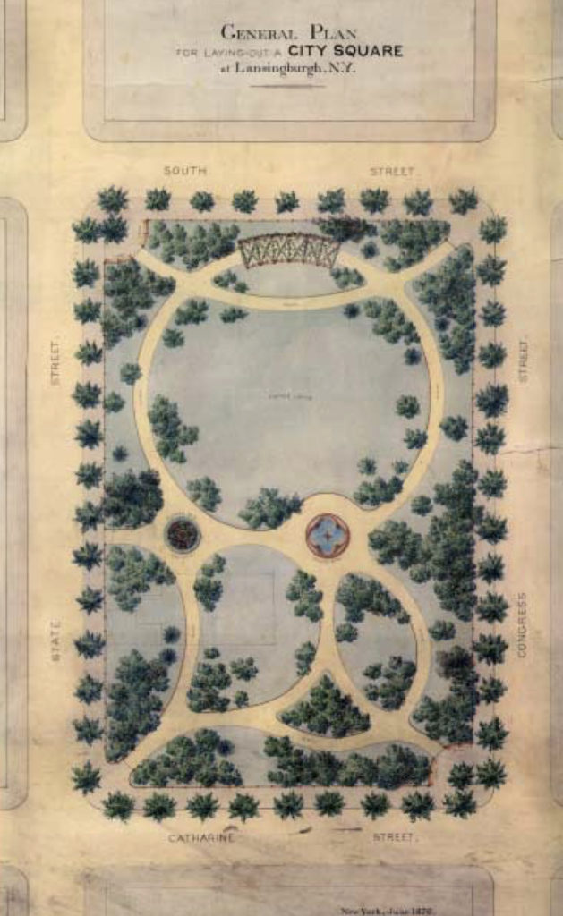 """""""General Plan for Laying Out a City Square at Lansingburgh, N. Y."""" by Jacob Weidenmann"""