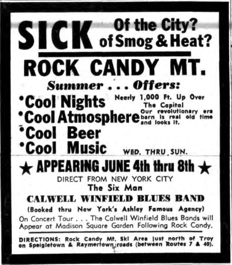SICK Of the City? of Smog & Heat? ROCK CANDY MT. Times Record. May 31, 1969: 5 cols 1-2. (Advertisement)