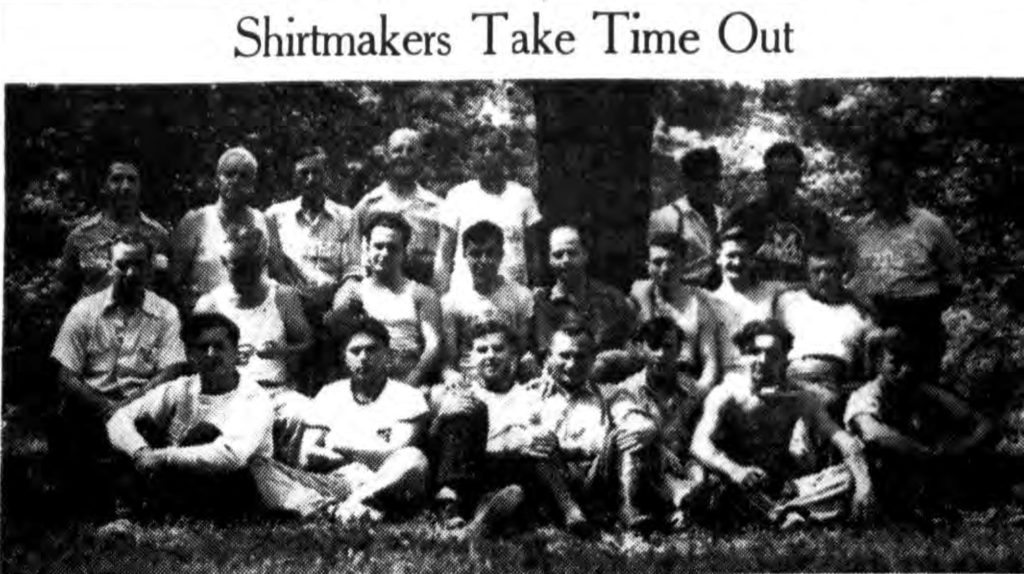 """""""Shirtmakers Take Time Out."""" Times Record. August 31, 1939: 14 cols 2-4. (photo cropped from scan by Fultonhistory.com)"""