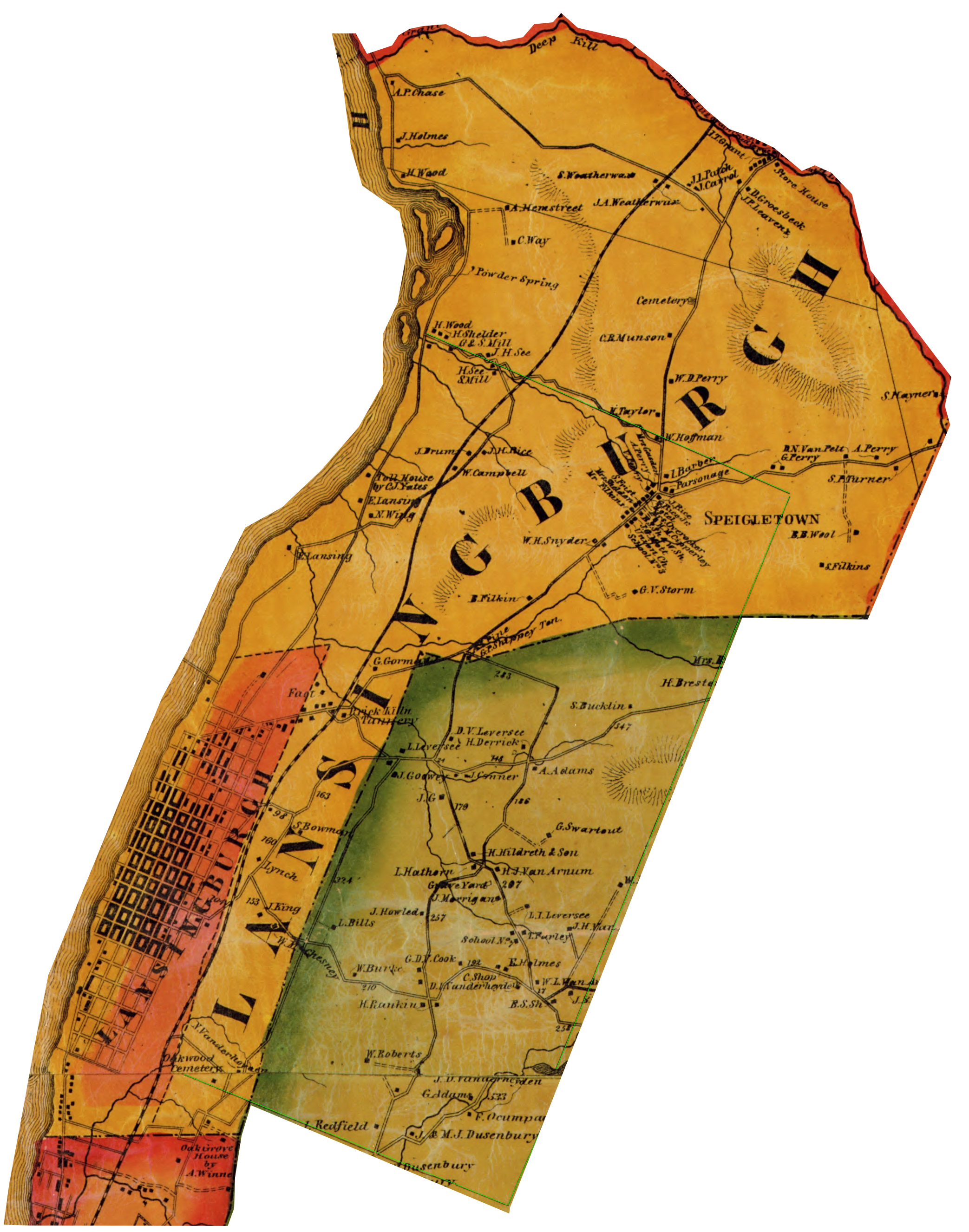 Image of Town of Lansingburgh with Batestown area (red at bottom) and remainder of Stone Arabia (green) cropped from Map of Rensselaer Co. New York by D. J. Lake & S. N. Beers, 1861. http://www.loc.gov/item/2009583522
