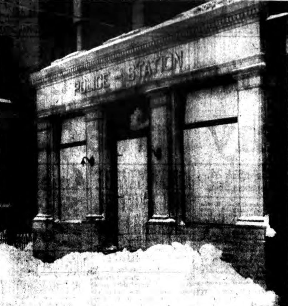 """""""PASSING LANDMARK—The Fourth Precinct has been boarded up, as shown above, by the Department of Public Works as the Department of Public Safety consolidated First and Fourth Precincts with the Central Station.  The precincts were closed this week.  The city has not yet determined what disposition will be made of the buildings.""""  Times Record. January 18, 1945: 3 cols 5-7."""