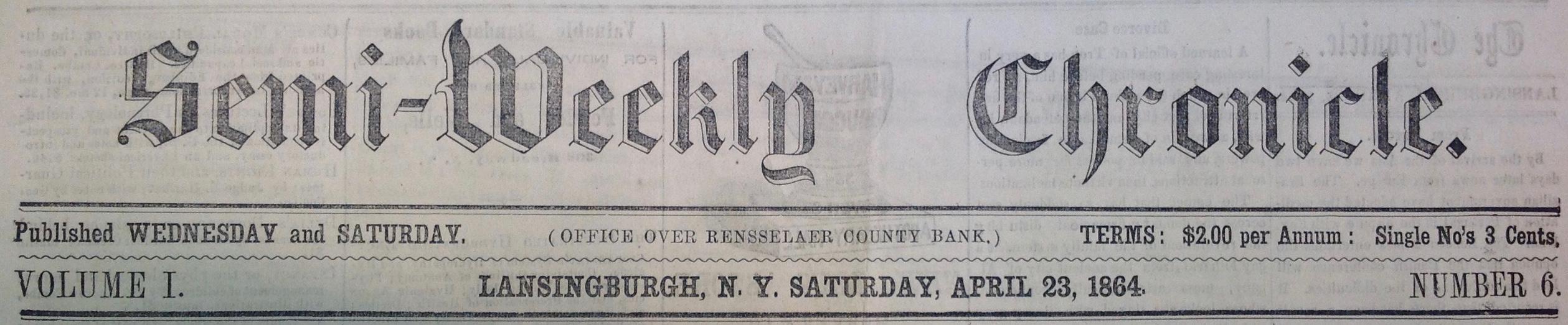 Semi-Weekly Chronicle. (Masthead.)
