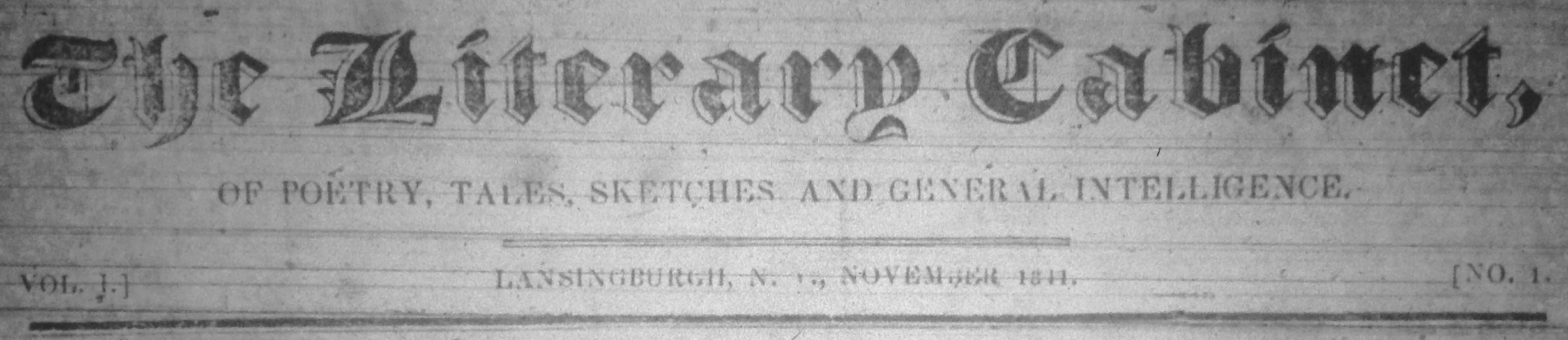 The Literary Cabinet, of Poetry, Tales, Sketches and General Intelligence. Vol. 1, No. 1. Lansingburgh, N. Y., November 1844. (Masthead.)