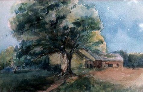 Lee, Caroline Haughton. Barns at Nestledown. ca. 1910s-1930s, watercolor, Lansingburgh Historical Society. (detail)