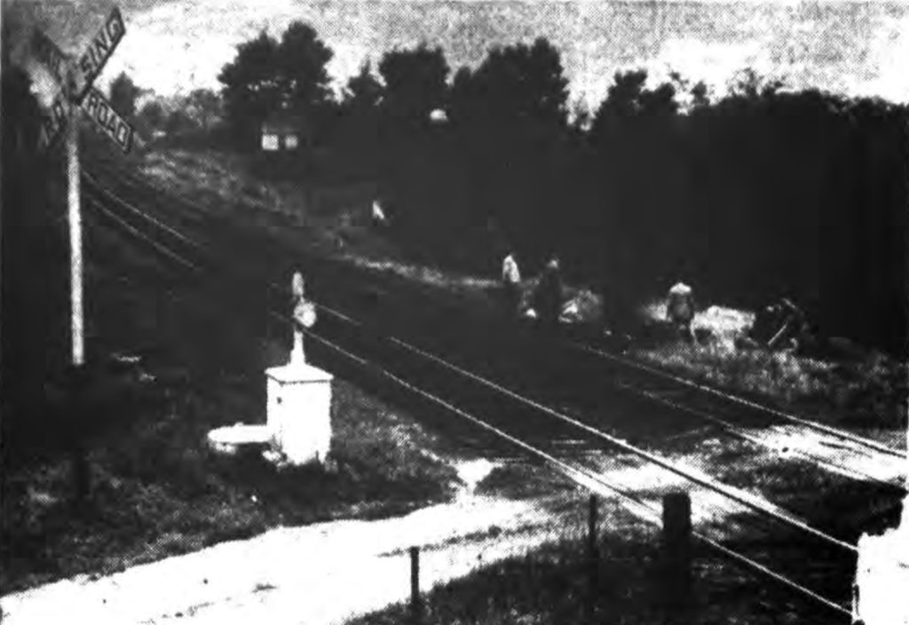 SUDDEN DEATH—Two were killed late yesterday afternoon at this crossing north of Speigletown by a south-bound Rutland R. R. train.  Picture above shows the twisted car tossed to the roadside.  The crossing, known as Flynn's Crossing, is on a dirt road connecting the River Road with the Melrose highway. Times Record [Troy, NY]. September 7, 1944: 14 cols 1-3.