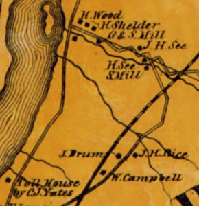 Detail of 1861 Rensselaer County map showing Campbell's Crossing at bottom and Flynn's Crossing towards top.