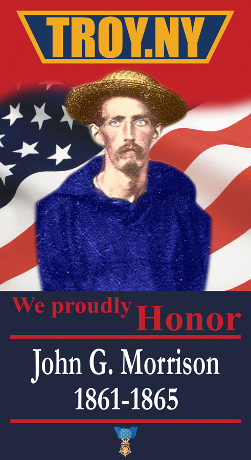 Vertical banner; tinted photo of John G. Morrison in front of waving US flag.