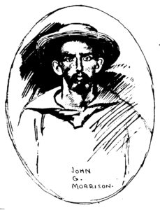 Pen & ink illustration of John G. Morrison cropped from scan of New York Press by Fultonhistory.com