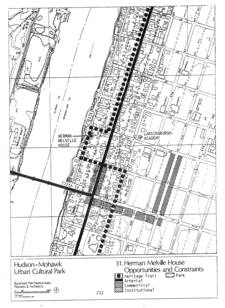 page 212 of 1984 UCP Management Plan showing map of part of Lansingburgh with Herman Melville House and Lansingburgh Academy marked.